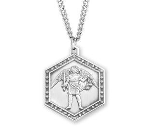 HMH Religious Hexagon St Michael Archangel Sterling Silver Necklace w/Chain
