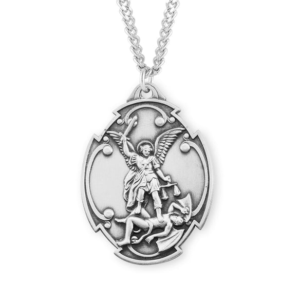HMH Religious Shield St Michael Archangel Styled Cross Shield Sterling Silver Necklace w/Chain