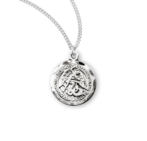 "HMH Religious Small Round St Michael Sterling Silver Saint Medal Necklace w/18"" Chain"