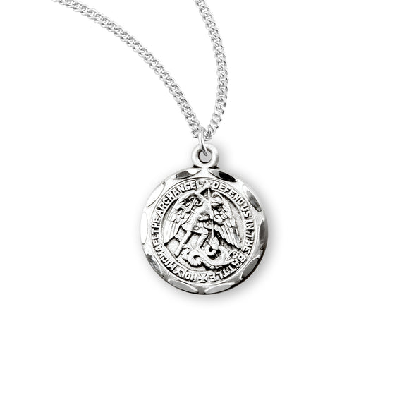 HMH Religious Small Round St Michael Sterling Silver Saint Medal Necklace w/18