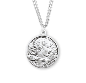 "HMH Religious St Michael Sterling Silver Saint Medal Necklace w/24"" Chain"