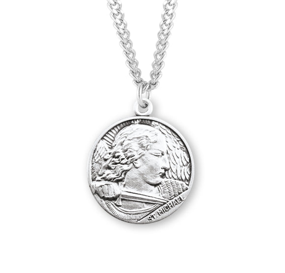 HMH Religious St Michael Sterling Silver Saint Medal Necklace w/24