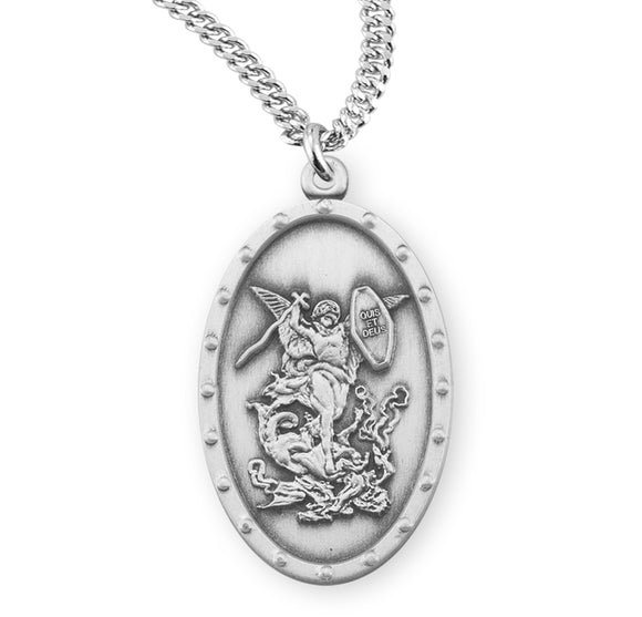 HMH Religious Oval Shield St Michael Archangel Saint Sterling Silver Necklace w/Chain
