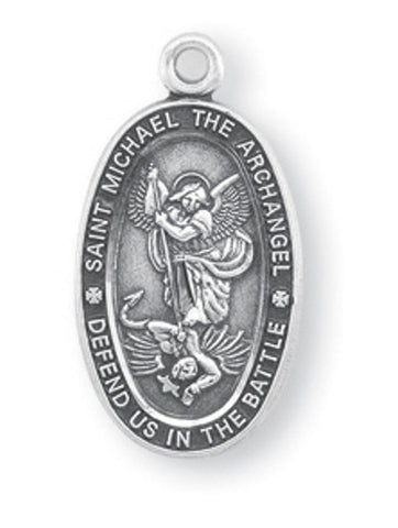 "HMH Religious Oval Small St Michael Defend us in Battle Sterling Silver Medal Necklace w/18"" Chain"