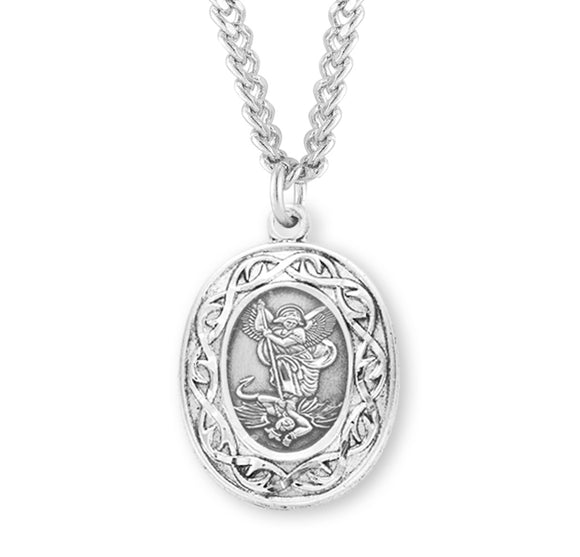 HMH Religious Cross of Thorn St Michael w/Guardian Angel Sterling Silver Medal Necklace w/24