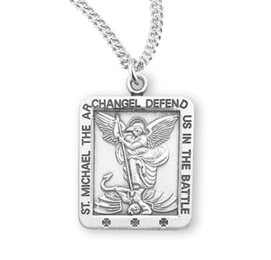 "HMH Religious Small St Michael Defend us in Battle Sterling Silver Medal Necklace w/20"" Chain"