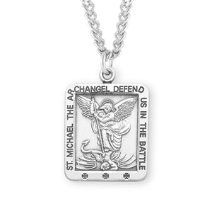 "HMH Religious Square St Michael Sterling Silver Saint Medal Necklace w/24"" Chain"