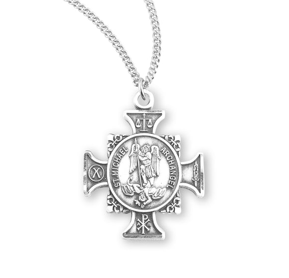 HMH Religious Maltese Cross Shaped St Michael Archangel Sterling Silver Pendant Necklace w/18
