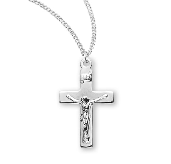 HMH Religious Small Basic Sterling Silver Crucifix Pendant Necklace