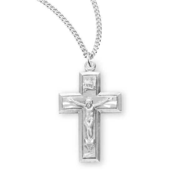 HMH Religious Wide Cross Sterling Silver Crucifix Pendant Necklace