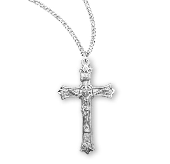 HMH Religious Triple Flare Tip Sterling Silver Crucifix Pendant Necklace