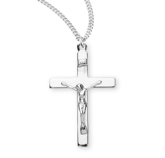 HMH Religious High Polished Sterling Silver Crucifix Pendant Necklace