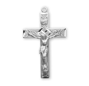 HMH Religious Ornate Detailed Sterling Silver Crucifix Pendant Necklace