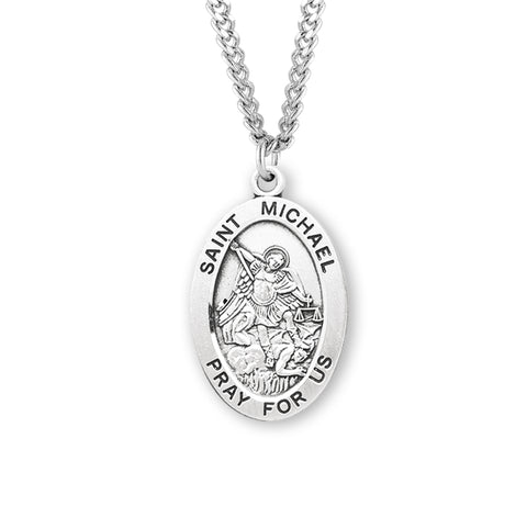 "HMH Religious Oval St Michael Archangel Patron Saint Sterling Silver Pendant Necklace w/24"" Chain"