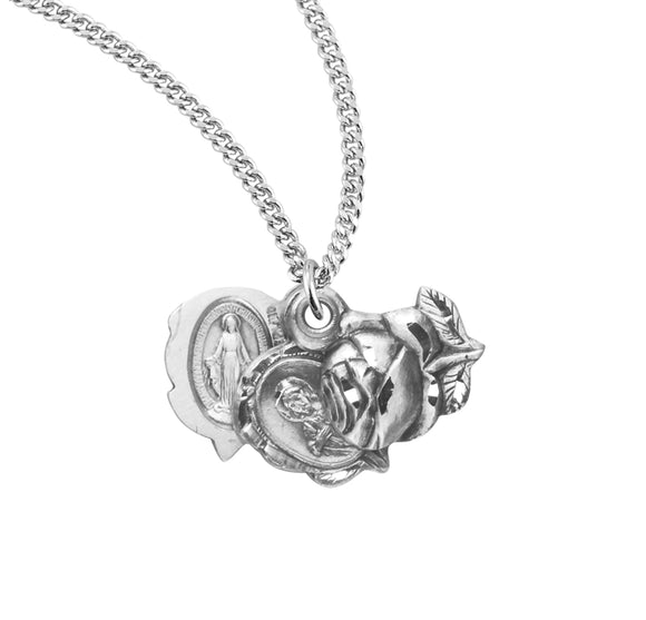 HMH Religious Scapular Rose Bud Triple Slide Miraculous Medal Sterling Silver Pendant Necklace