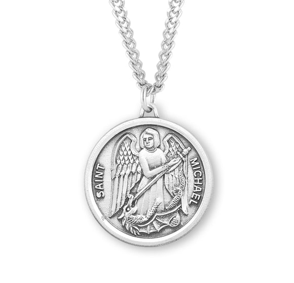 HMH Religious Round St Michael Sterling Silver Saint Medal Necklace w/24