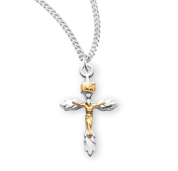 HMH Religious Sterling Silver Two Toned Wheat Crucifix Pendant Necklace