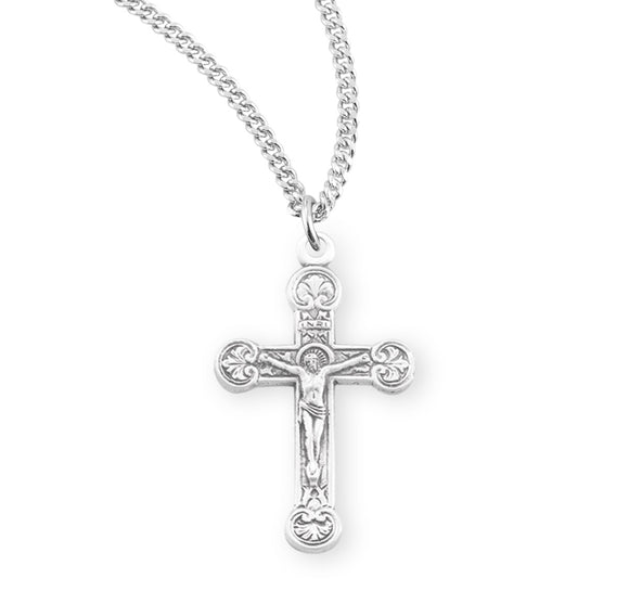 HMH Religious Fancy Floret Tipped Sterling Silver Crucifix Pendant Necklace