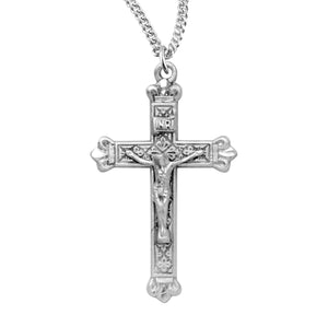 HMH Religious Ornate Budded Tip Sterling Silver Crucifix Pendant Necklace