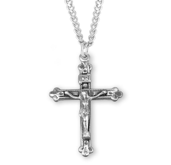 HMH Religious Budded Tip Sterling Silver Crucifix Pendant Necklace