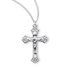 HMH Religious Swirled Tipped Sterling Silver Crucifix Pendant Necklace