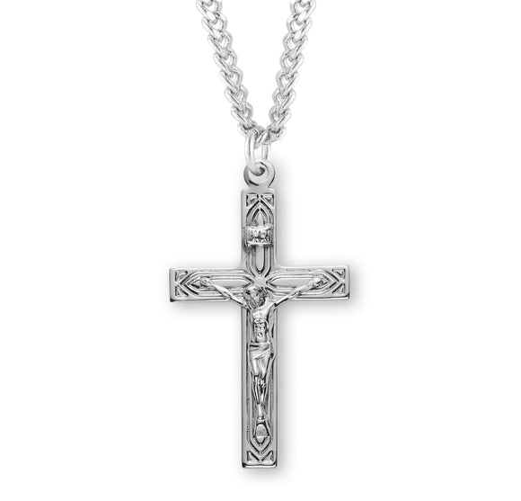 HMH Religious Art Deco Style Sterling Silver Crucifix Pendant Necklace