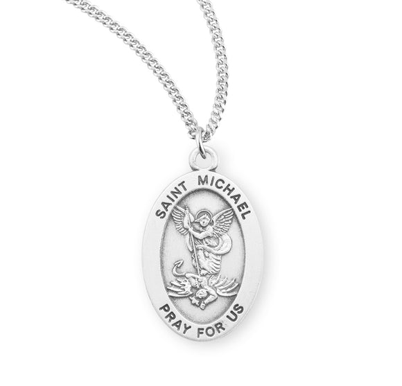 HMH Religious St Michael Archangel Saint Sterling Silver Pendant Necklace w/18