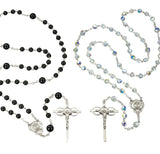 HMH Religious Sterling Swarovski Crystal and Onyx Bead Marriage Wedding Rosary Set