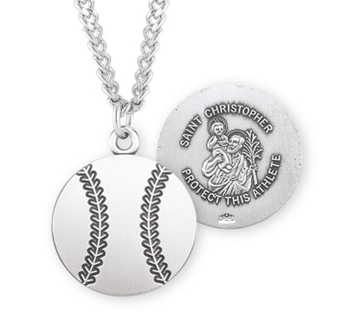 HMH Religious St Christopher Round Baseball Sports Necklace