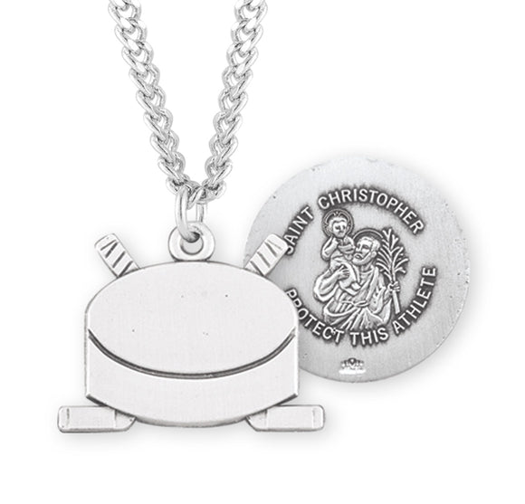 HMH Religious St Christopher Ice Hockey Puck Sports Necklace