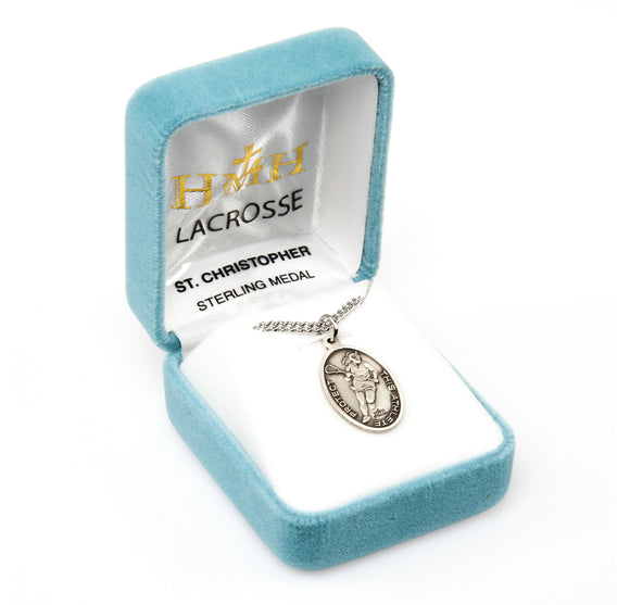St Christopher Female Lacrosse Sterling Silver Sports Necklace by HMH Religious