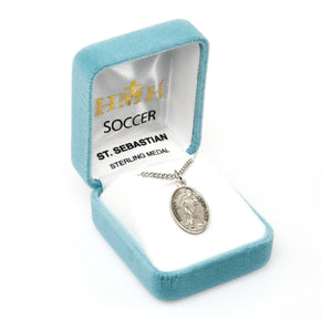 St Sebastian Female Soccer Sterling Silver Sports Necklace by HMH Religious