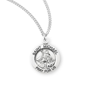 "HMH Religious Small Round St Michael Sterling Silver Medal Necklace w/18"" Chain"