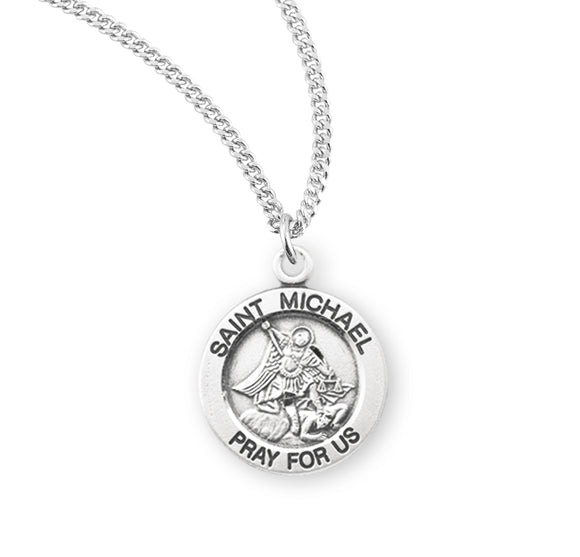 HMH Religious Small Round St Michael Sterling Silver Medal Necklace w/18