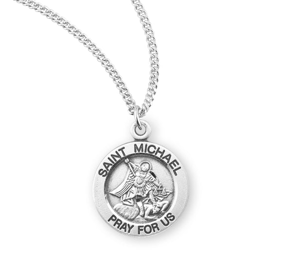 HMH Religious Round St Michael Archangel Sterling Silver Pendant Necklace w/18