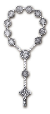 HMH Religious Solid Sterling Silver One Decade Saint Benedict Pocket Prayer Rosary