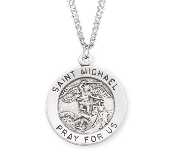 HMH Religious Round St Michael Archangel Sterling Silver Necklace w/Chain