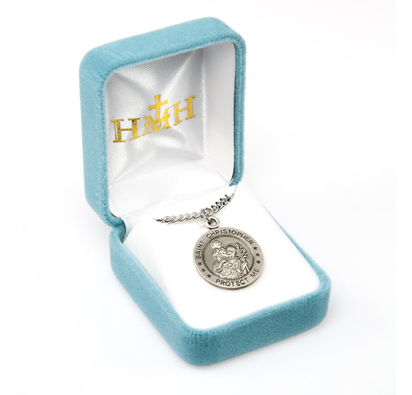 St Christopher Round Ice Hockey Sports Saint Medal Necklace by HMH Religious