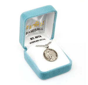 St Rita Round Sterling Silver Baseball Sports Saint Medal Necklace by HMH Religious