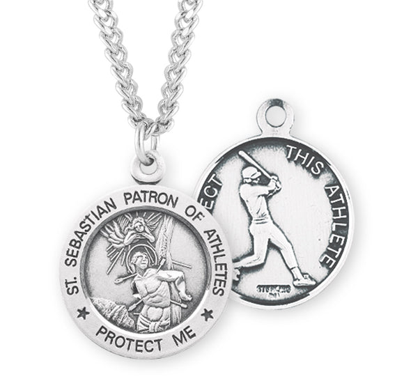 St Sebastian Round Sterling Baseball Sports Saint Medal Necklace by HMH Religious