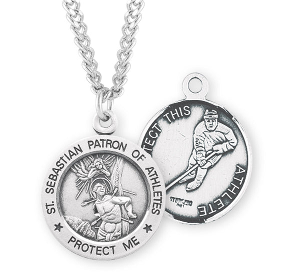 HMH Religious St Sebastian Round Ice Hockey Sports Saint Medal Necklace