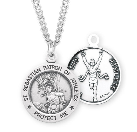 HMH Religious St Sebastian Round Track and Field Sports Saint Medal Necklace