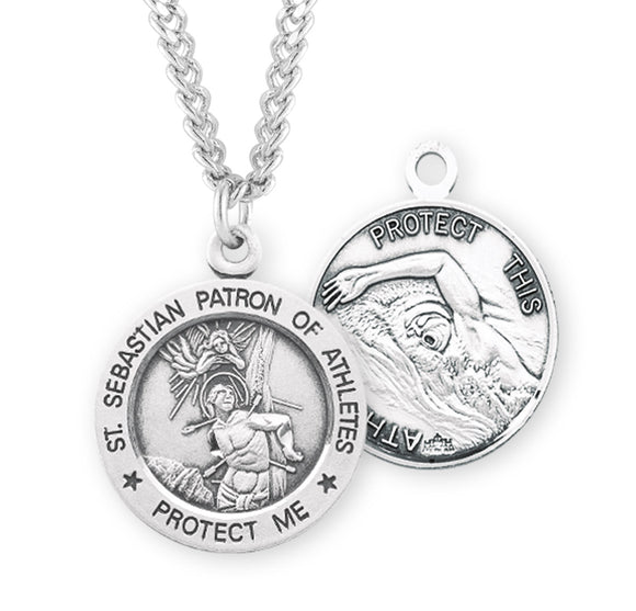 HMH Religious St Sebastian Round Swimming Sports Saint Medal Necklace