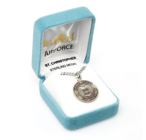 HMH Religious St Christopher Air Force Military Sterling Silver Pendant Necklace