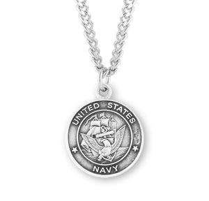 HMH Religious St Christopher US Navy Military Sterling Silver Pendant Necklace