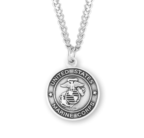 HMH Religious St Christopher US Marines Military Sterling Silver Pendant Necklace