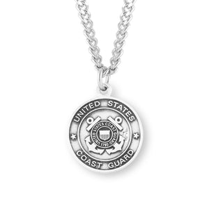 HMH Religious St Christopher US Coast Guard Military Sterling Silver Pendant Necklace