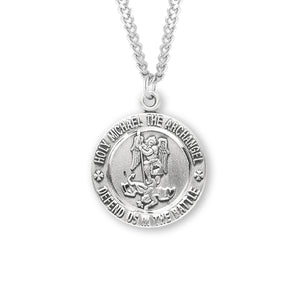 "HMH Religious EMT St Michael Archangel Patron Saint Sterling Silver Necklace w/24"" Chain"