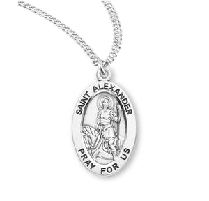 HMH Religious St Alexander Oval Sterling Silver Patron Saint Medal Necklace