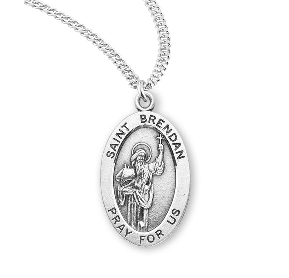 HMH Religious St Brendan the Navigator Oval Sterling Silver Patron Saint Medal Necklace